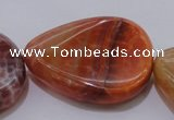 CAG4248 15.5 inches 30*40mm twisted flat teardrop natural fire agate beads