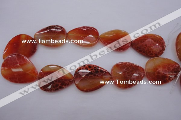 CAG4277 15.5 inches 30*40mm faceted flat teardrop natural fire agate beads