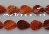 CAG4282 10*14mm faceted & twisted teardrop natural fire agate beads