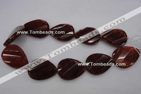 CAG4285 30*40mm faceted & twisted teardrop natural fire agate beads