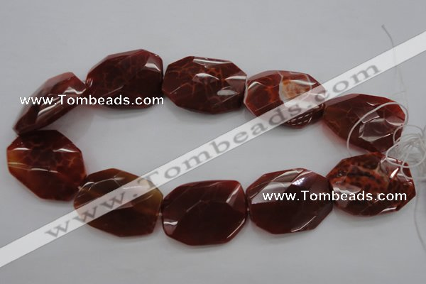 CAG4288 30*40mm faceted & twisted octagonal natural fire agate beads