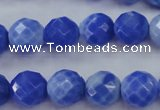 CAG4312 15.5 inches 8mm faceted round dyed blue fire agate beads