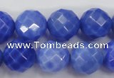 CAG4313 15.5 inches 10mm faceted round dyed blue fire agate beads