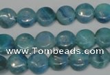 CAG4420 15.5 inches 10mm flat round dyed blue lace agate beads