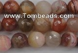 CAG4472 15.5 inches 8mm faceted round pink botswana agate beads