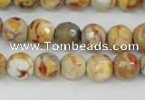 CAG4482 15.5 inches 6mm faceted round fire crackle agate beads
