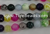 CAG4504 15.5 inches 8mm faceted round fire crackle agate beads