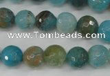 CAG4518 15.5 inches 10mm faceted round fire crackle agate beads