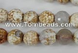 CAG4521 15.5 inches 10mm faceted round fire crackle agate beads