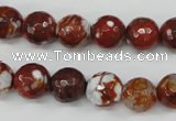 CAG4528 15.5 inches 10mm faceted round fire crackle agate beads