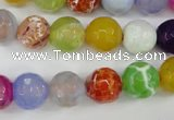 CAG4530 15.5 inches 10mm faceted round fire crackle agate beads