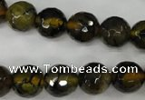 CAG4543 15.5 inches 12mm faceted round fire crackle agate beads