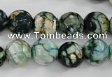 CAG4545 15.5 inches 12mm faceted round fire crackle agate beads