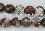 CAG4547 15.5 inches 12mm faceted round fire crackle agate beads