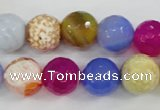CAG4549 15.5 inches 12mm faceted round fire crackle agate beads