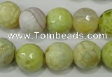 CAG4559 15.5 inches 14mm faceted round fire crackle agate beads