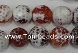 CAG4560 15.5 inches 14mm faceted round fire crackle agate beads