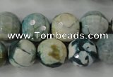 CAG4562 15.5 inches 14mm faceted round fire crackle agate beads