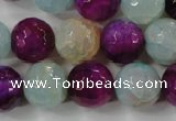 CAG4563 15.5 inches 14mm faceted round fire crackle agate beads