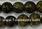 CAG4572 15.5 inches 16mm faceted round fire crackle agate beads
