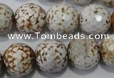 CAG4573 15.5 inches 16mm faceted round fire crackle agate beads