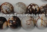 CAG4576 15.5 inches 16mm faceted round fire crackle agate beads