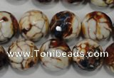 CAG4577 15.5 inches 16mm faceted round fire crackle agate beads