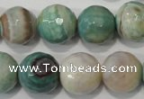 CAG4580 15.5 inches 16mm faceted round fire crackle agate beads