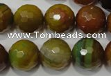 CAG4582 15.5 inches 16mm faceted round fire crackle agate beads