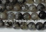 CAG4600 15.5 inches 4mm faceted round fire crackle agate beads