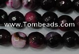 CAG4619 15.5 inches 6mm faceted round fire crackle agate beads
