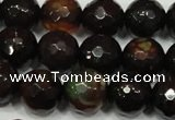CAG4649 15.5 inches 8mm faceted round fire crackle agate beads