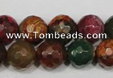 CAG4650 15.5 inches 8mm faceted round fire crackle agate beads