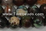 CAG4653 15.5 inches 8mm faceted round fire crackle agate beads