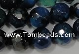 CAG4655 15.5 inches 8mm faceted round fire crackle agate beads