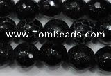 CAG4658 15.5 inches 8mm faceted round fire crackle agate beads