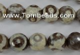CAG4715 15 inches 10mm faceted round tibetan agate beads wholesale