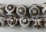 CAG4716 15 inches 14mm faceted round tibetan agate beads wholesale