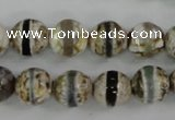 CAG4723 15 inches 8mm faceted round tibetan agate beads wholesale