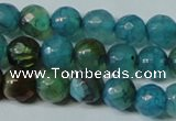 CAG4786 15.5 inches 6mm faceted round fire crackle agate beads