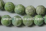 CAG4792 15.5 inches 12mm faceted round fire crackle agate beads