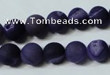 CAG4797 15.5 inches 12mm round matte druzy agate beads wholesale