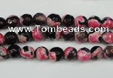 CAG4801 15 inches 6mm faceted round fire crackle agate beads