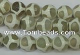 CAG4816 15 inches 10mm faceted round tibetan agate beads wholesale