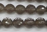 CAG4828 15 inches 12mm faceted round grey agate beads wholesale