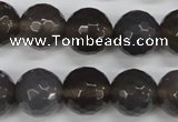 CAG4829 15 inches 14mm faceted round grey agate beads wholesale