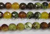 CAG4842 15 inches 8mm faceted round dragon veins agate beads