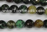 CAG4853 15 inches 10mm faceted round dragon veins agate beads
