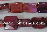 CAG4874 15 inches 14*14mm faceted square fire crackle agate beads