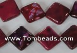 CAG4883 15 inches 14*14mm faceted diamond fire crackle agate beads